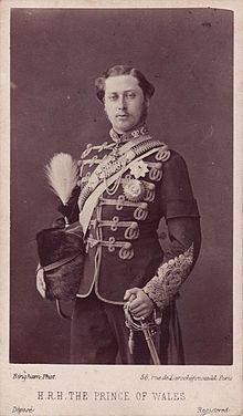 HRH Prince of Wales Edward (1841-1910) in the uniform of Colonel of the 10th Hussars.
